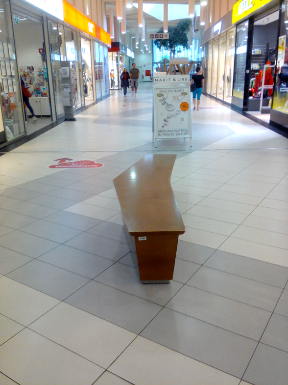 Hall bench in typical European shoping mall